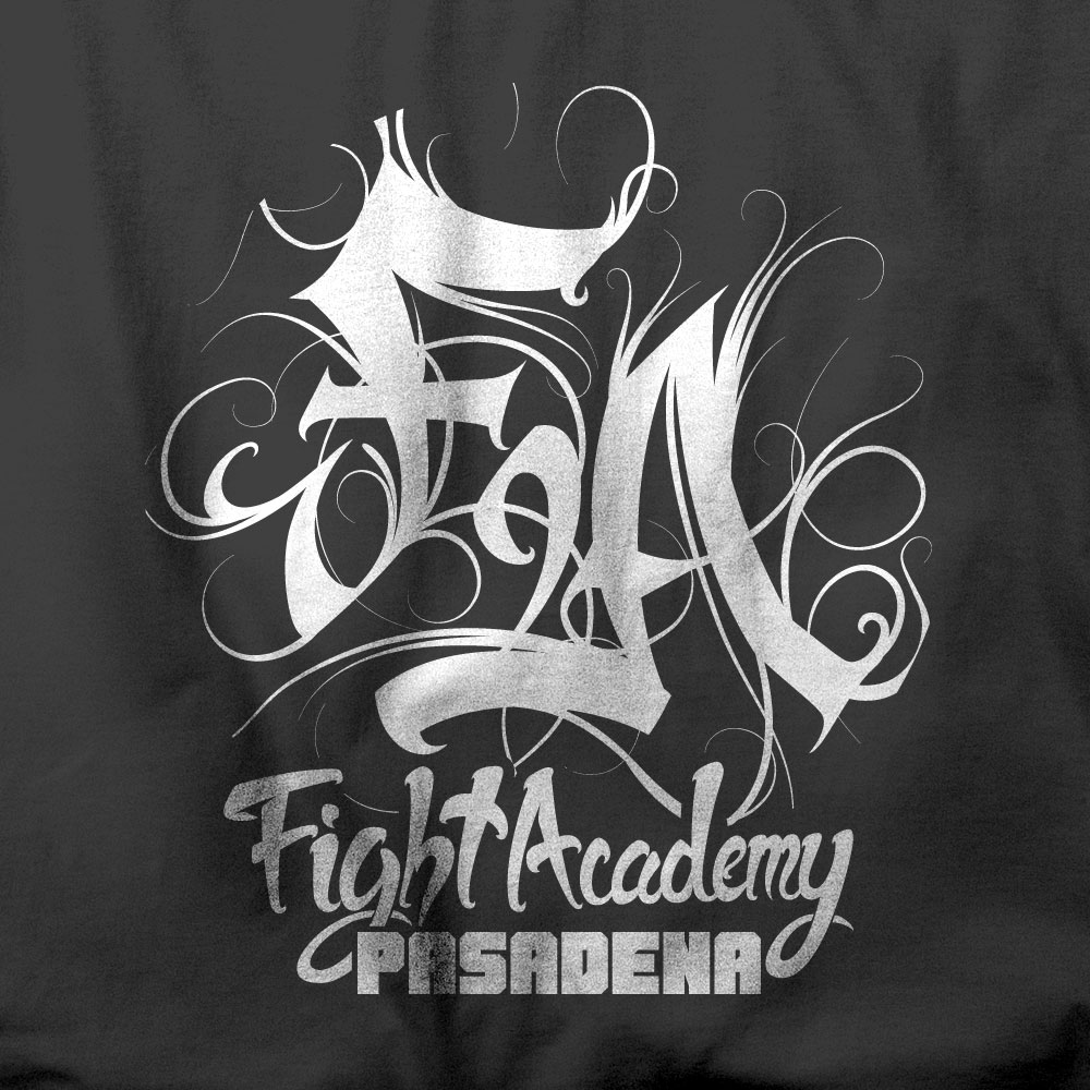 Apparel Design - Calligraphy inspired graphic for a mixed martial arts gym in Pasadena, CA.