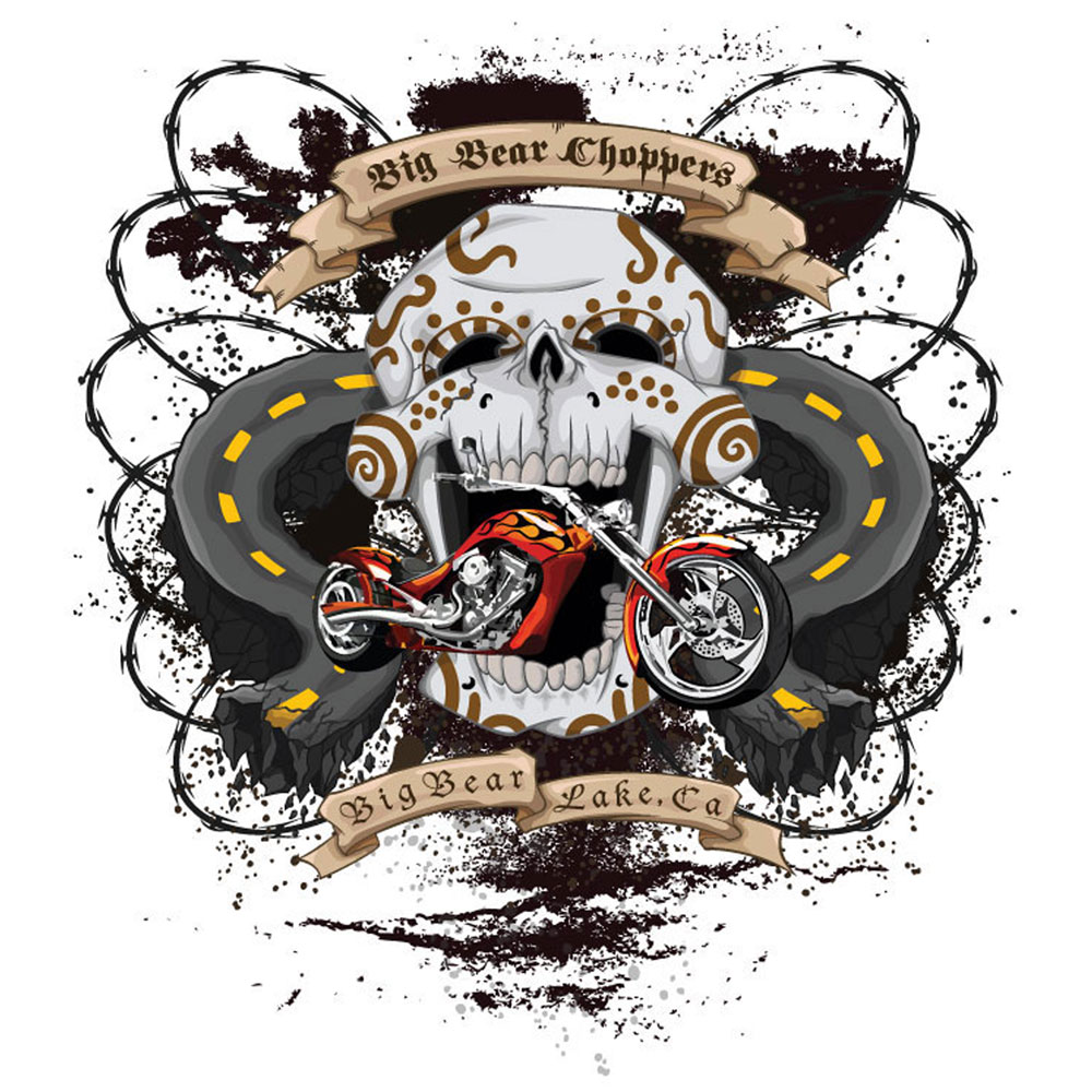 Graphic T-Shirt Design - Custom skull graphic for t-shirt and poster promoting a biker event