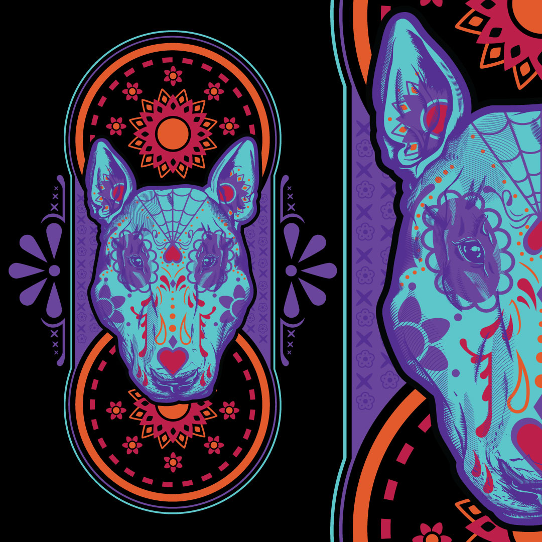 Dia De Los MuertosBull TERRIER - Custom t-shirt graphic design with the Day of the Dead theme for a martial arts gym in Seattle. Sketches and Adobe Illustrator used.