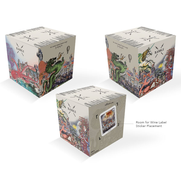 Rabble WineShipping Box - Using pre-existing artwork created for the actual wine labels. I was tasked with turning them into a design for a shipping box. The concept was to take each label and seamless merge them together creating a story of chaos and destruction in a fantasy world.