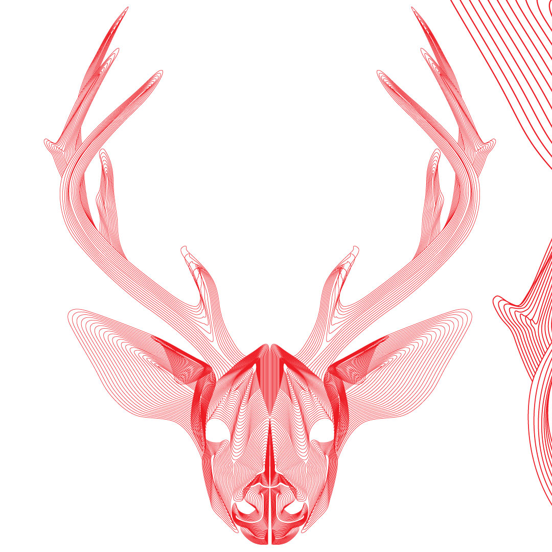 Animal Mesh:Deer - Vector illustration experiments with Adobe Illustrator