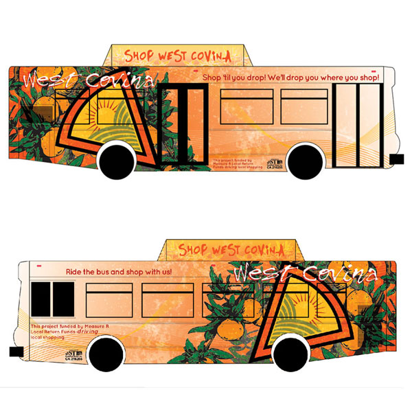 City of West CovinaBus Wrap - The bus wrap design incorporated some history of West Covina. A time where orange and walnut groves flourished.