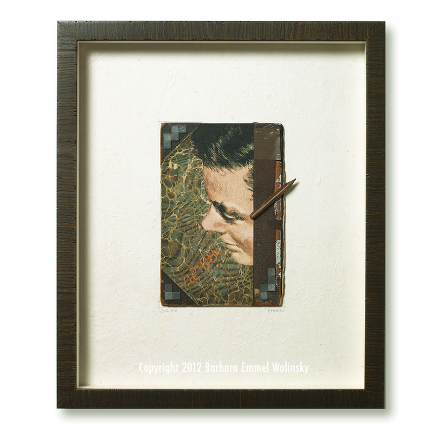 "2 X 2 # 3 18"" x 24"" framed marbled book cover, pencil and a Ladies Home Journal illustration"