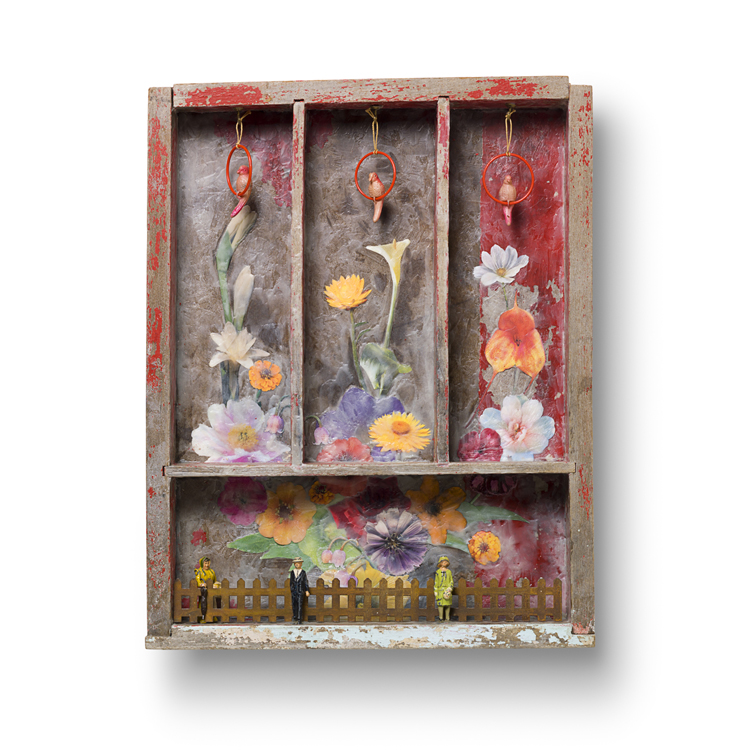 "MY GARDEN 13.75"" x 17.5"" x 2.25"" encaustic flower photos, lead figures and celluloid parrots in painted drawer"