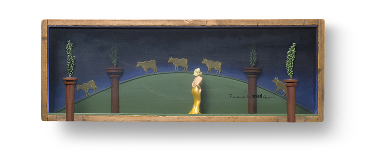 "I WANNA BE LOVED 22"" x 8"" x 3.5"" Marilyn figure, fern seed pods and brass cows"