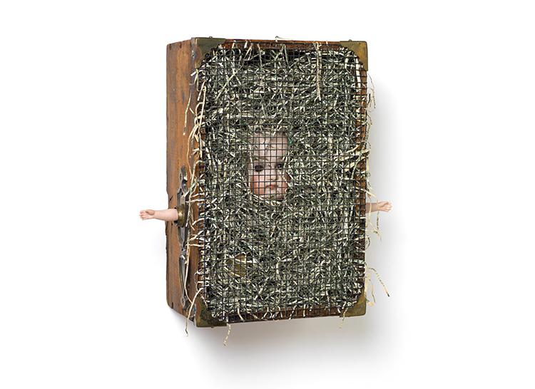 "NO CASH VALUE 7.25"" x 11.375"" x 4"" porcelain doll head and hands, brass hardware and coin and shredded money"