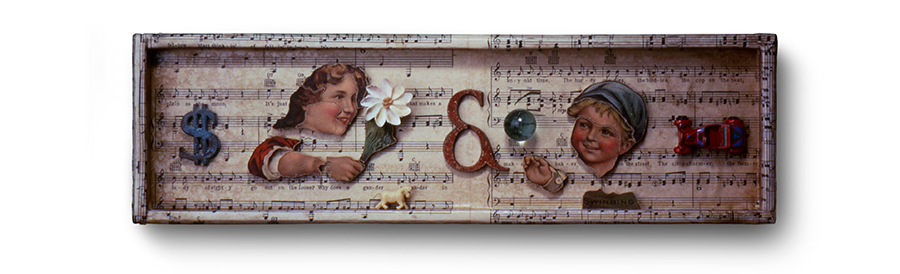"WHAT MAKES A LADY OF EIGHTY GO OUT ON THE LOOSE 15.75"" x 4.75"" x 1"" puzzle pieces, metal letters, marble and toy truck"
