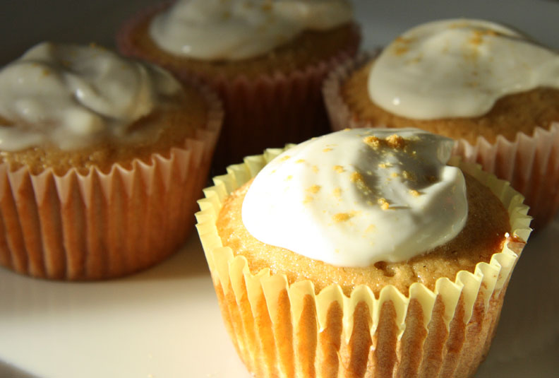 l ebneh-agave frosting atop ginger cupcakes