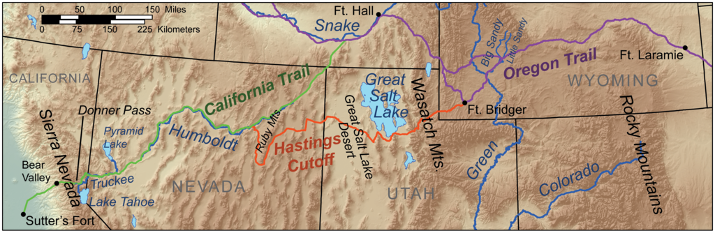 Donner route map, by Kmusser
