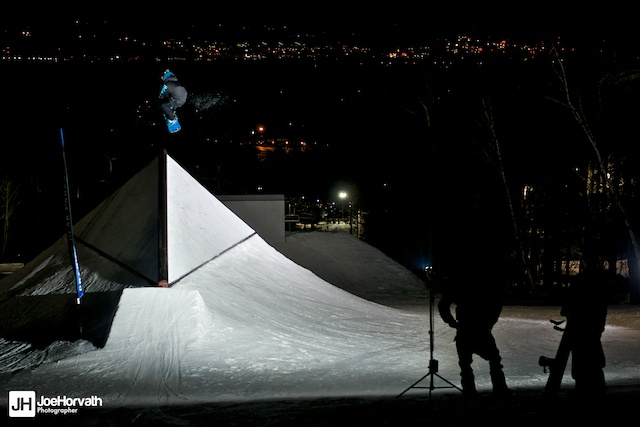 jason Contreras launching off of the shark fin at granite peak parks. lit with a speedlight