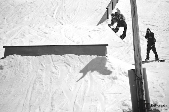 snowboarder at tyrol basin spring jam by joe horvath visuals