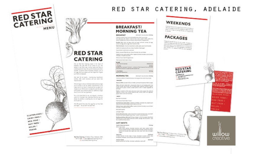 Red Star Catering, Adelaide menu + business cards