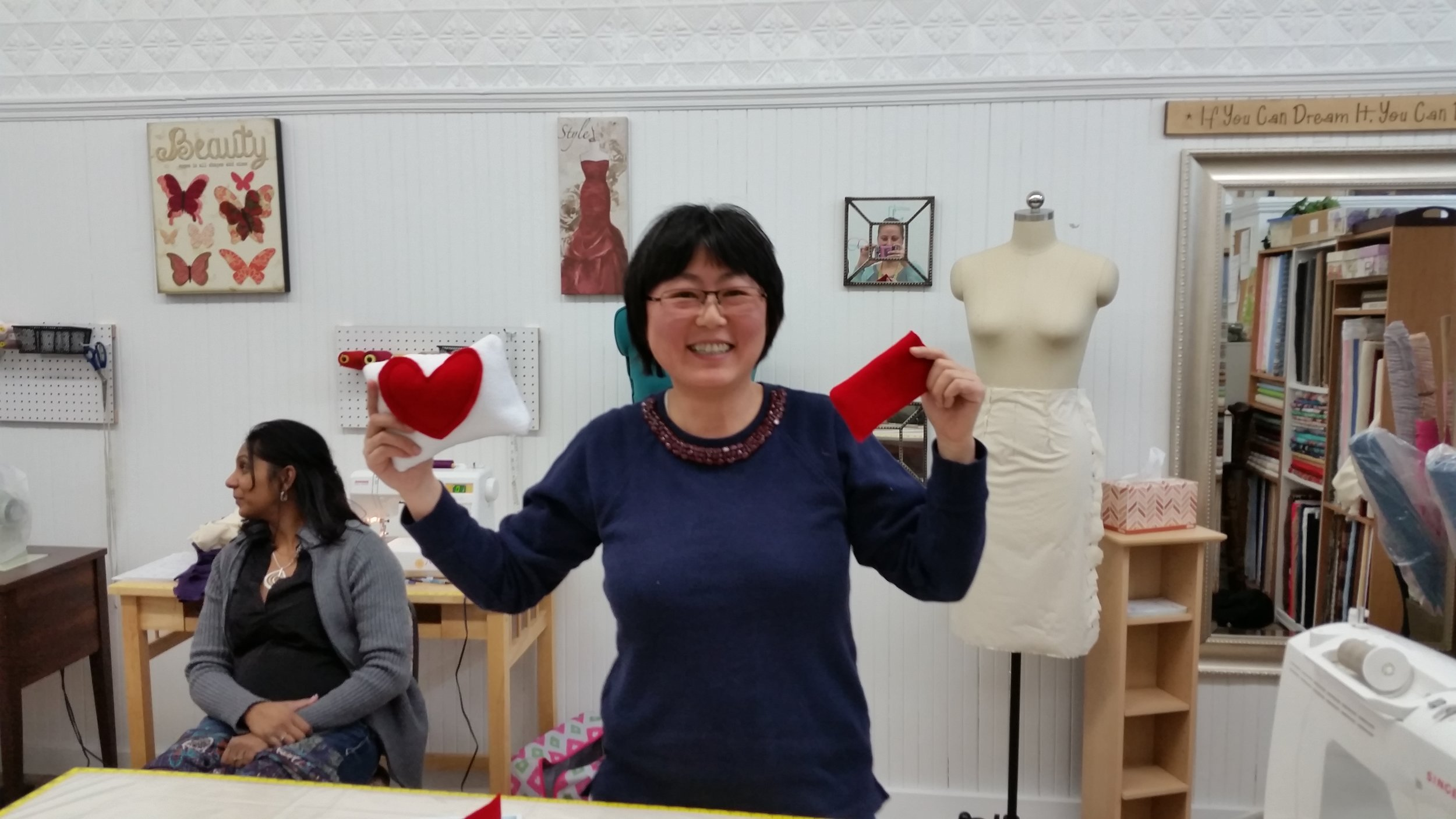 Aspiring designer created a few items during one of the Drop-In Sewcials held on Wendesdays