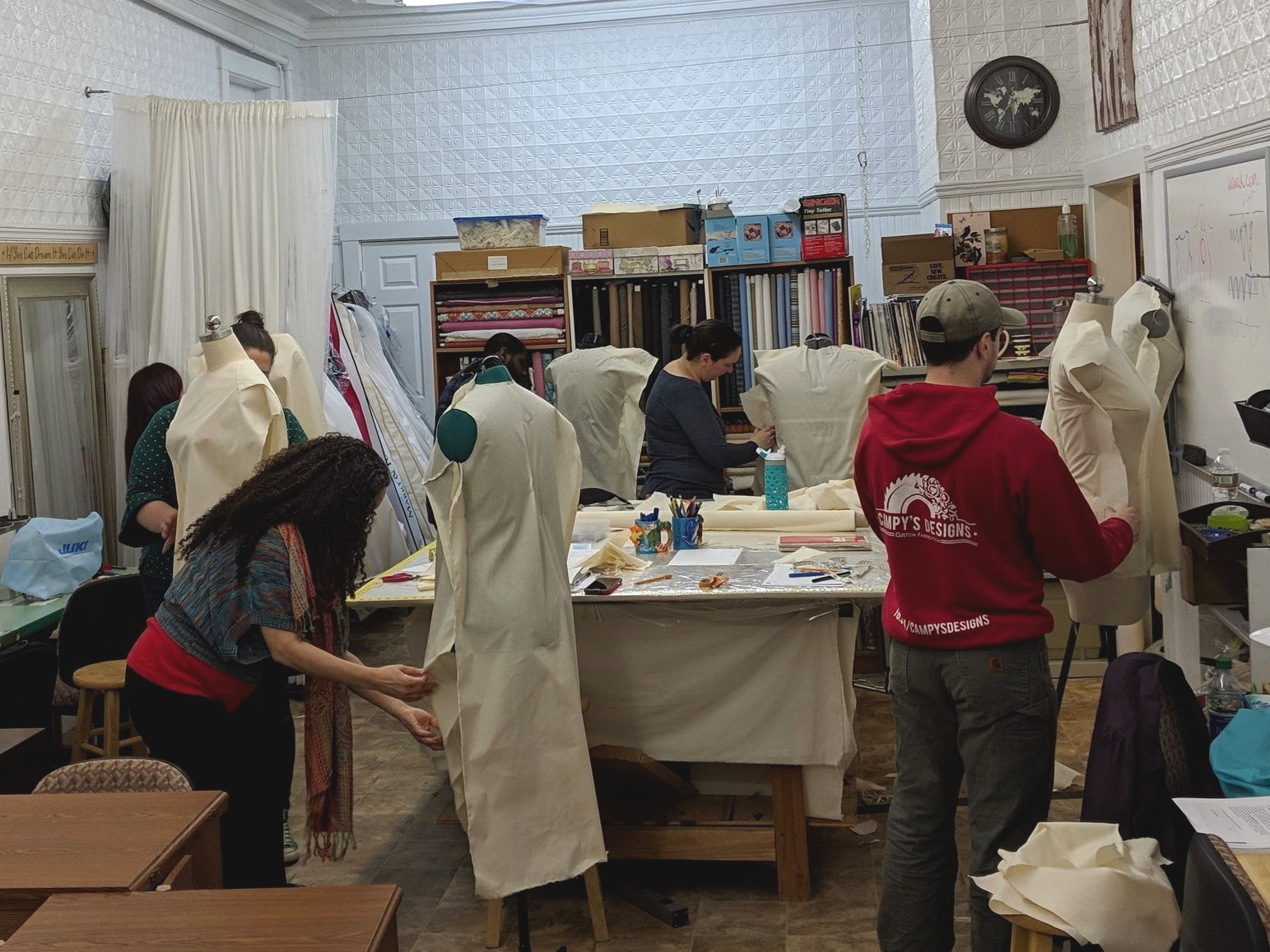 Intermediate course students are learning basics of draping