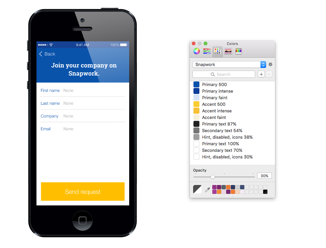 A prototype using a completed colour palette based on the Material Design colour system