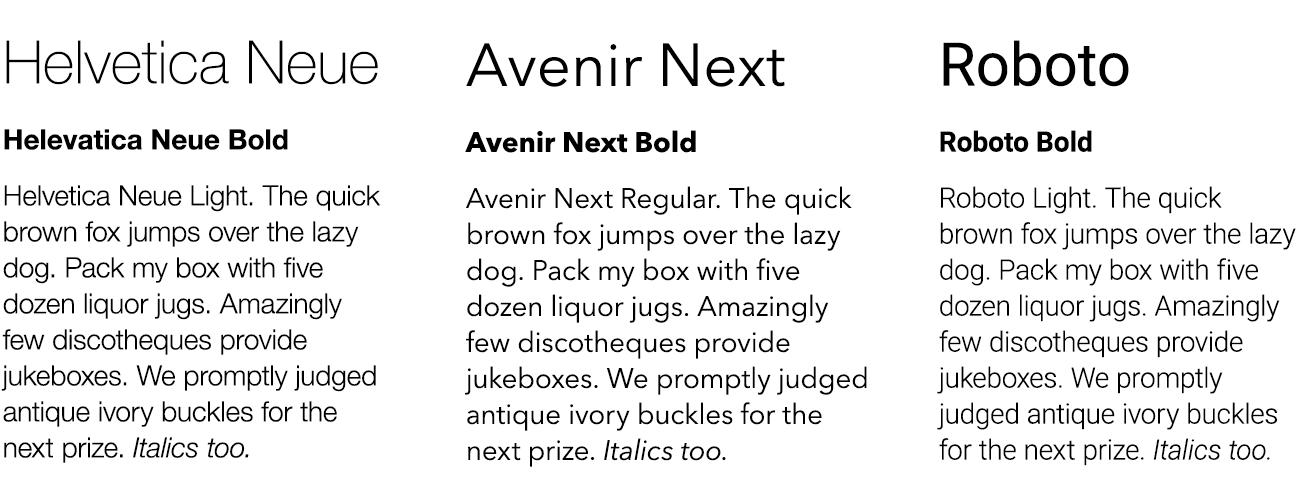 My top picks for prototype fonts are Helvetica Neue, Avenir Next, and Roboto