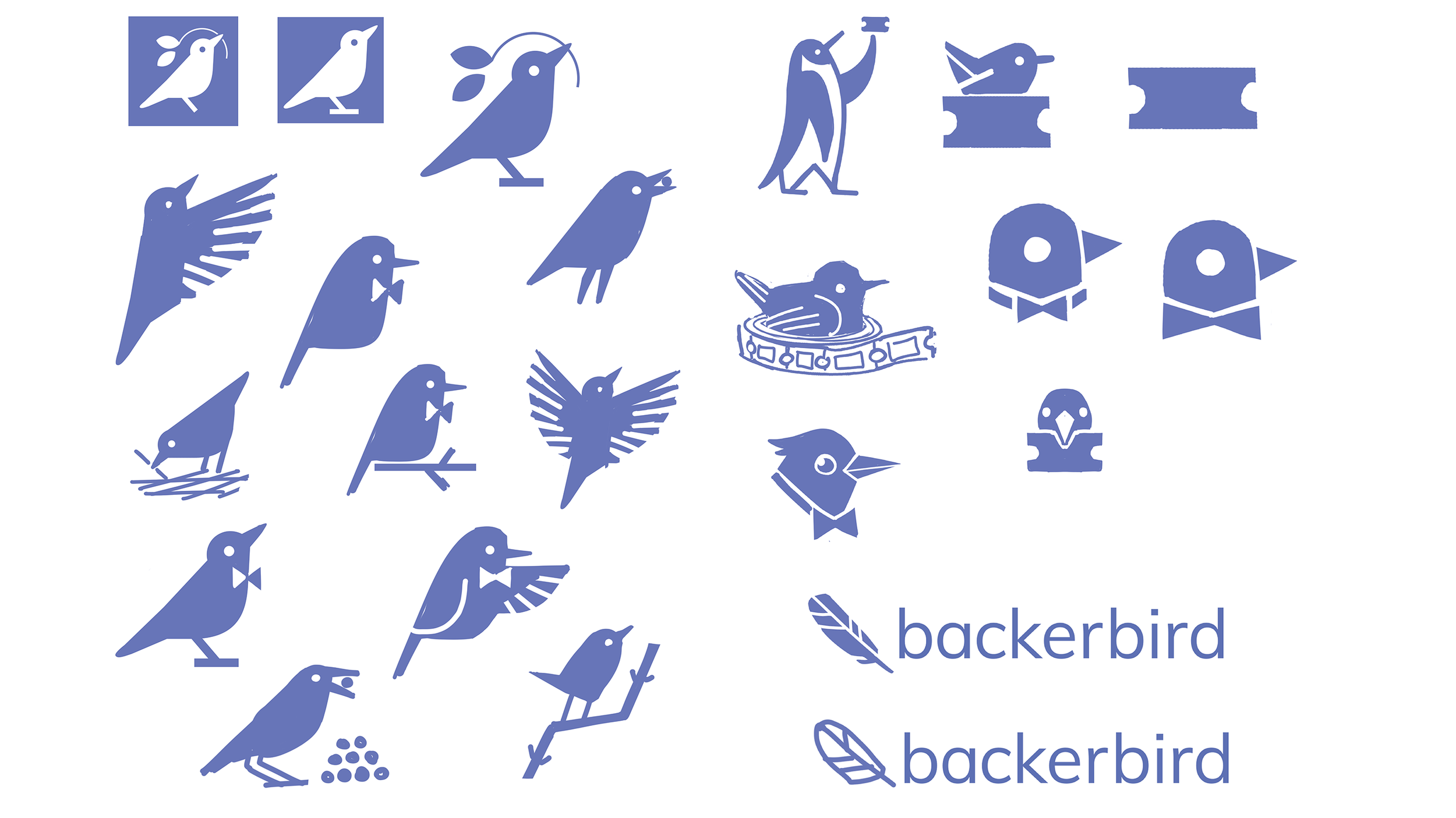 backerbird logo concepts. We decided on a cleaned up version of the lower right.