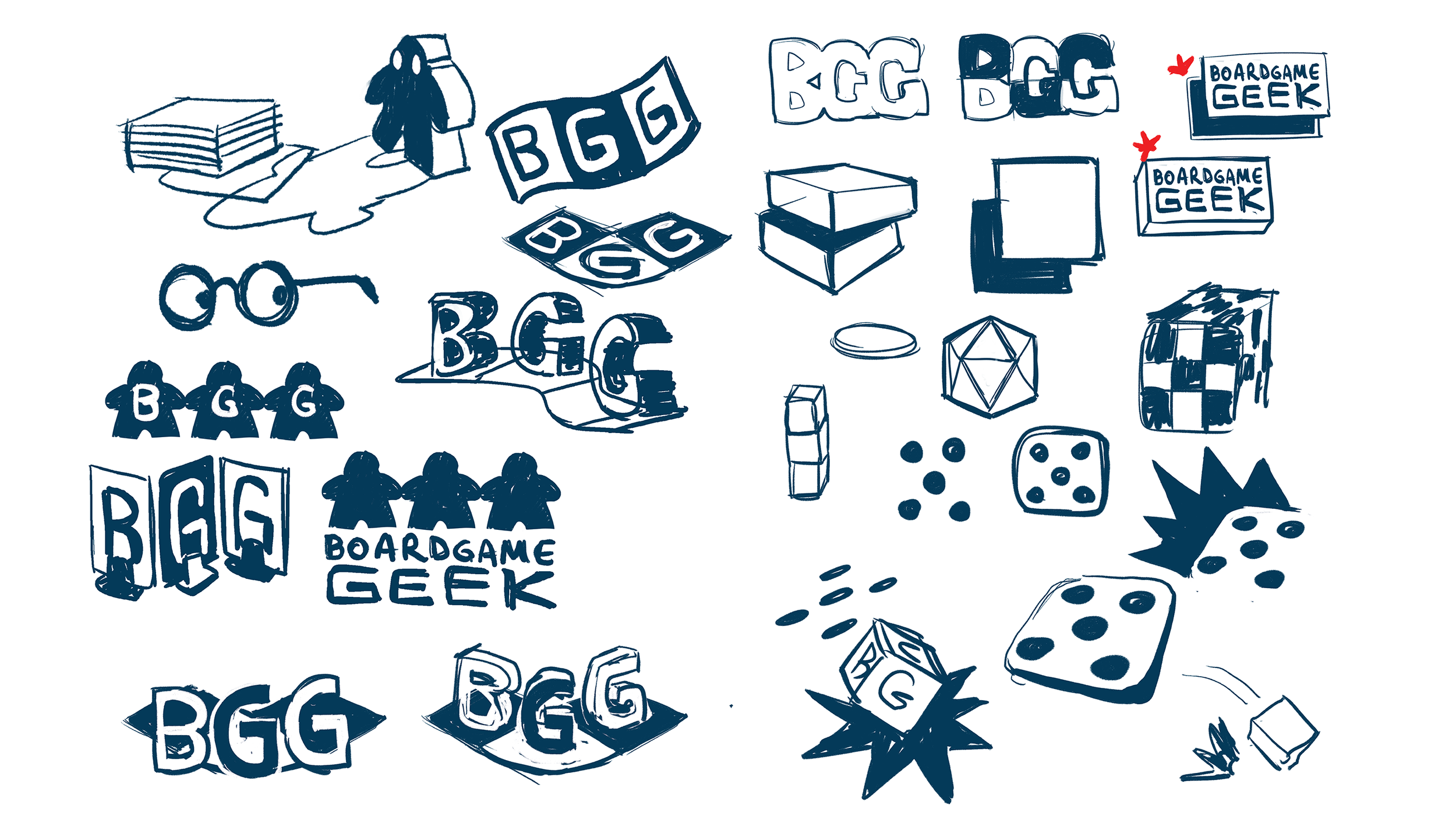 concept sketches for rebranding Board Game Geek