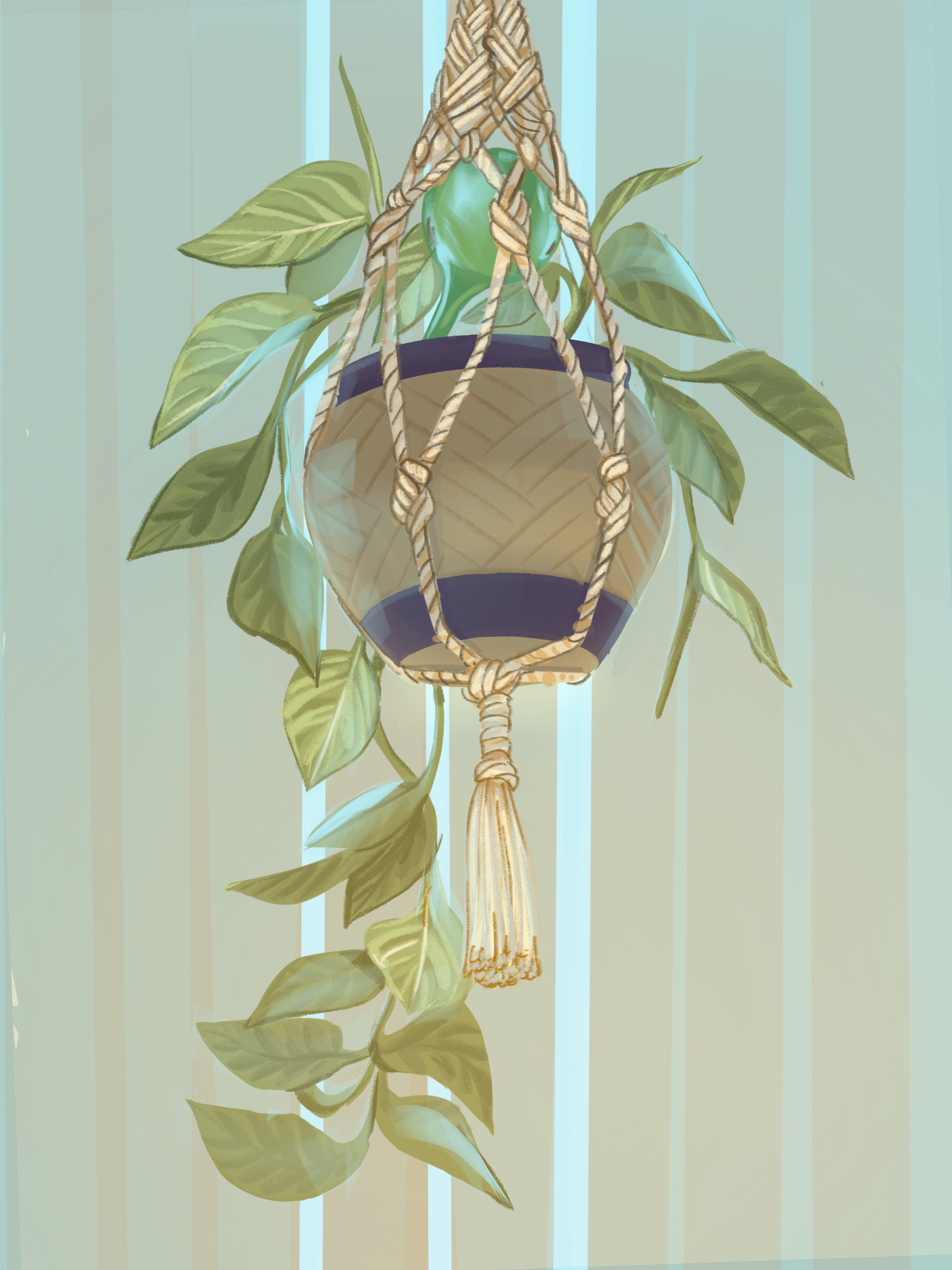 The drawing from my study. I did things like enlarge the leaves and cleaned up their shapes, drew through a little more, to add dimension, and messed with the color/lighting a little bit