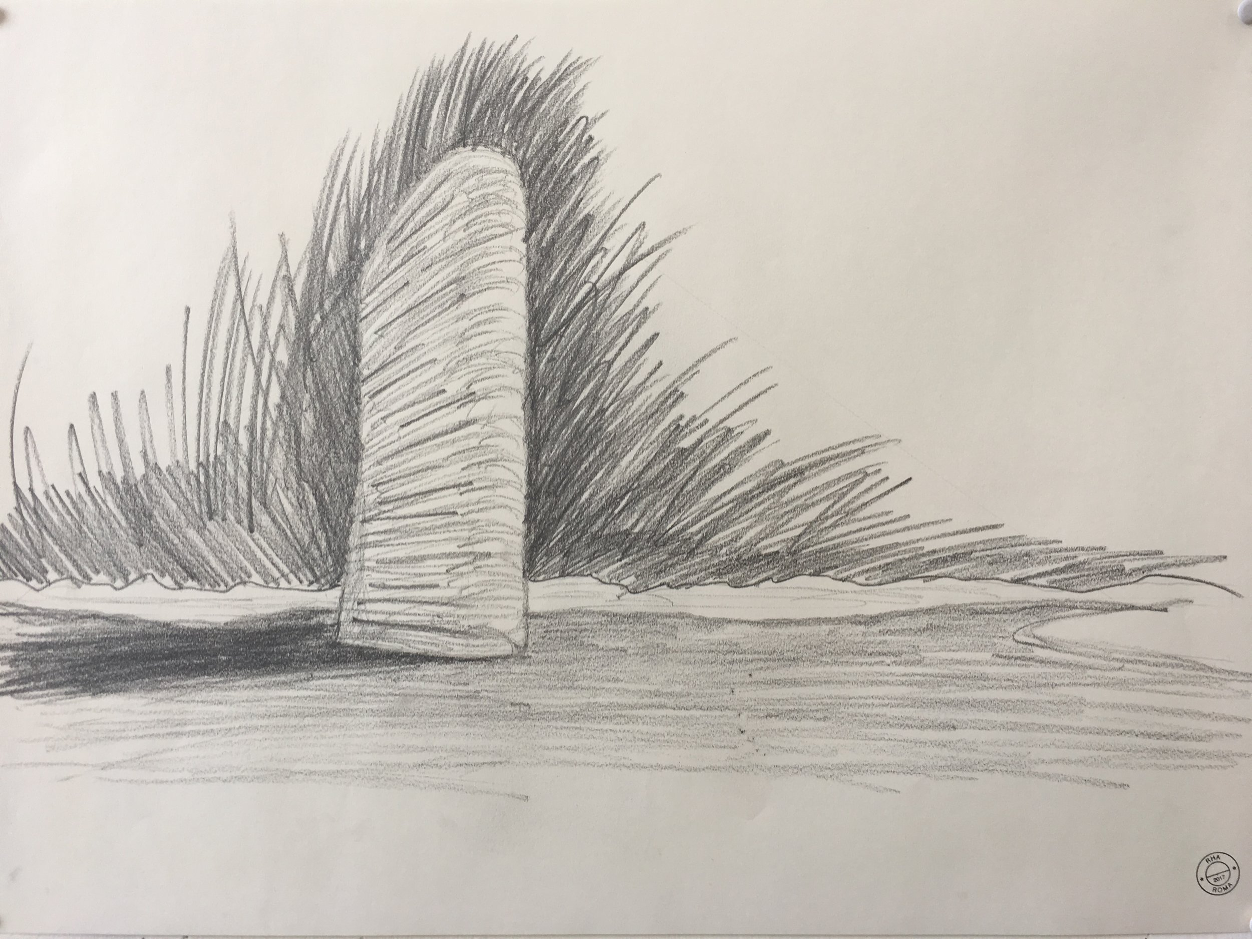 'Lighthouse', one of nine allegorical works of architecture that make up 'Memory Houses', drawing by Robert Hutchison.
