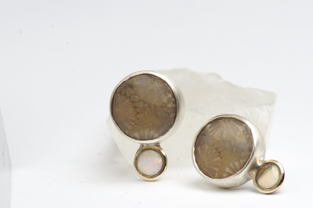 Earrings  Sterling silver, yellow gold, coral-fossil, opal. 