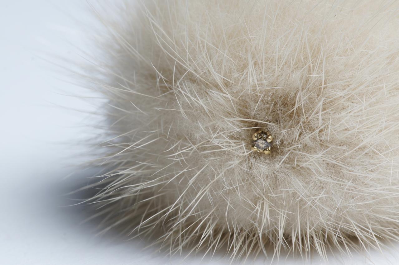 Ring  Rabbit fur, copper, yellow gold, fabric.