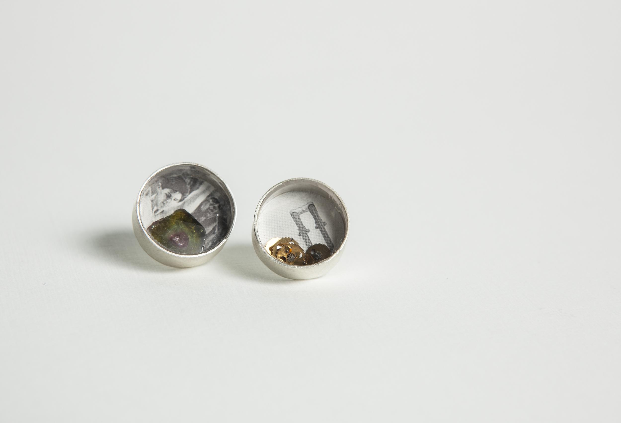 Earrings  Sterling silver, tourmaline, paper, watch parts.