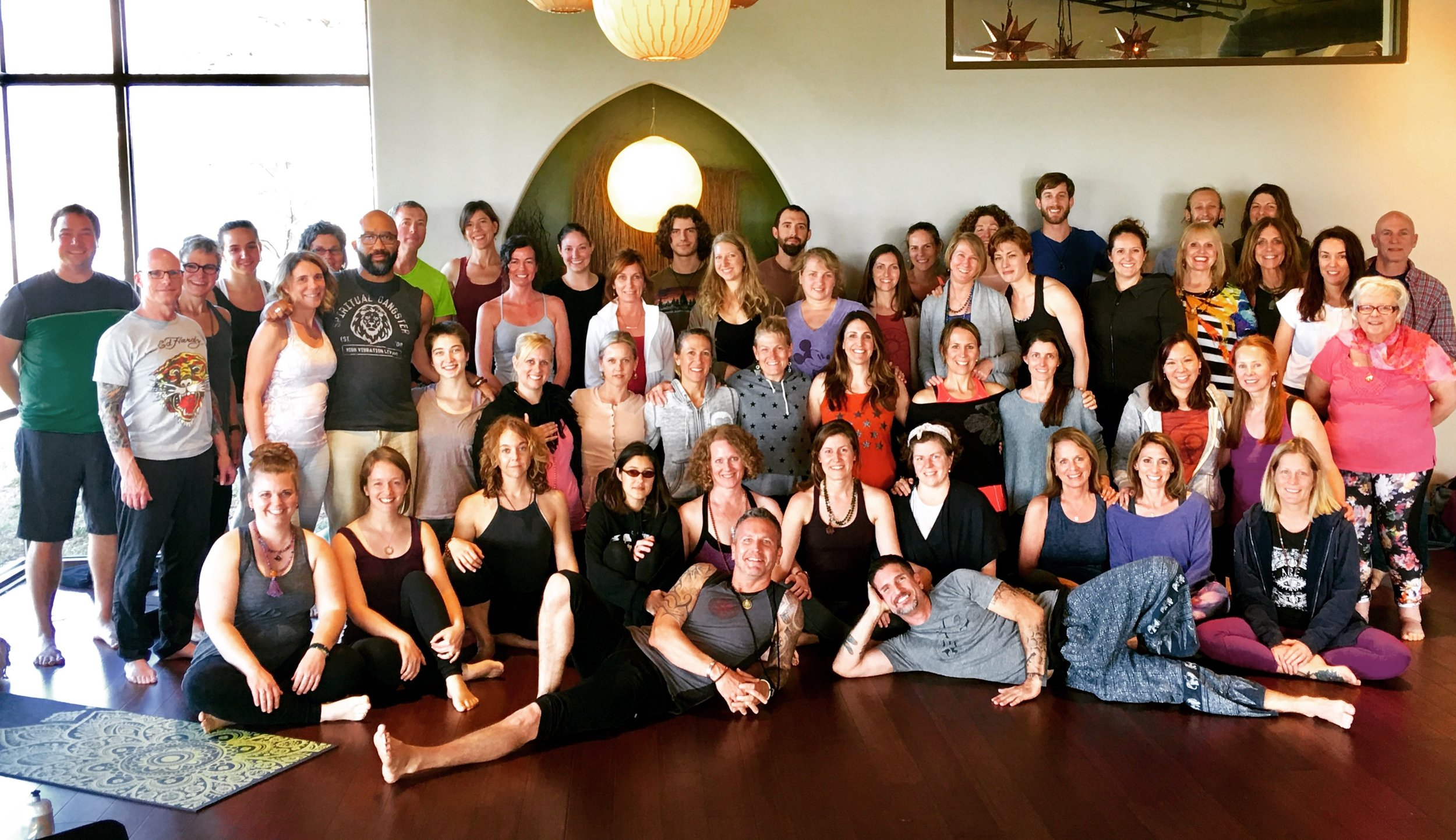 In Madison WI., teaching a workshop with Mark Morford at Perennial Yoga.