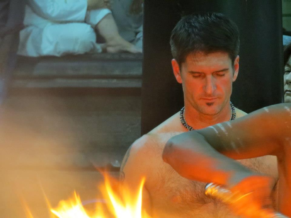 At a fire ceremony in Southern India with a Janet Stone Yoga Retreat.