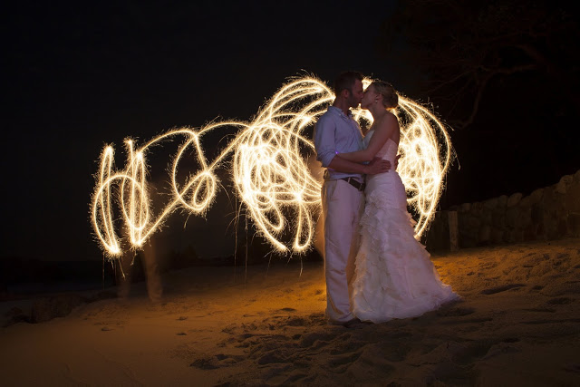 Long exposure wedding couple with sparklers
