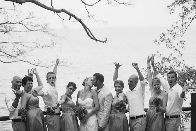 Bridal party celebrating the couple's kiss at a terrace in Las Caletas, Puerto Vallarta, MX