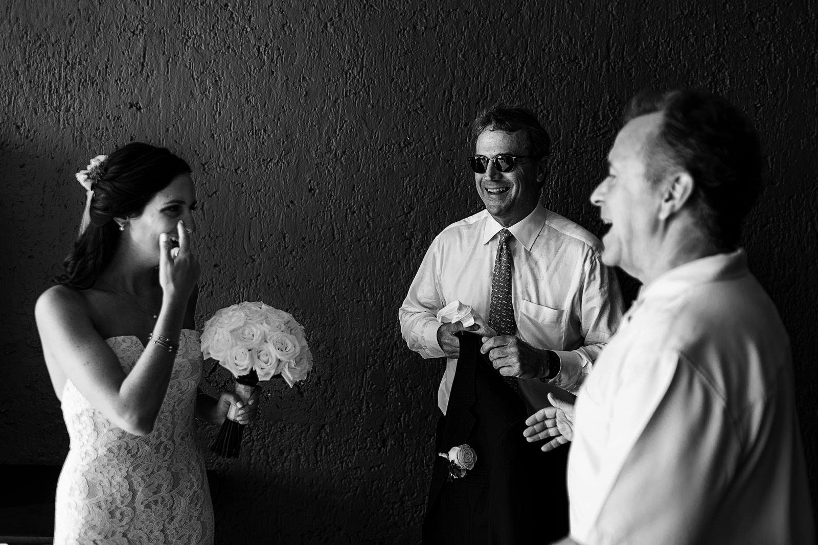 Bride with dad and guest waiting to be called for wedding ceremony - Eder Acevedo cancun los cabos vallarta wedding photographer