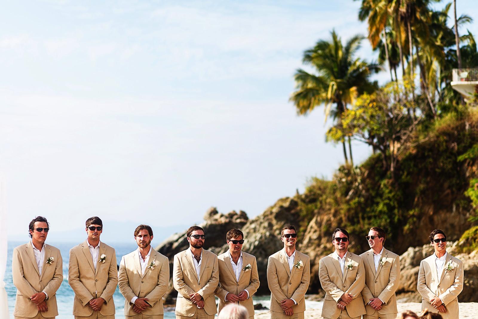 Groomsmen in place for wedding ceremony - Eder Acevedo cancun los cabos vallarta wedding photographer