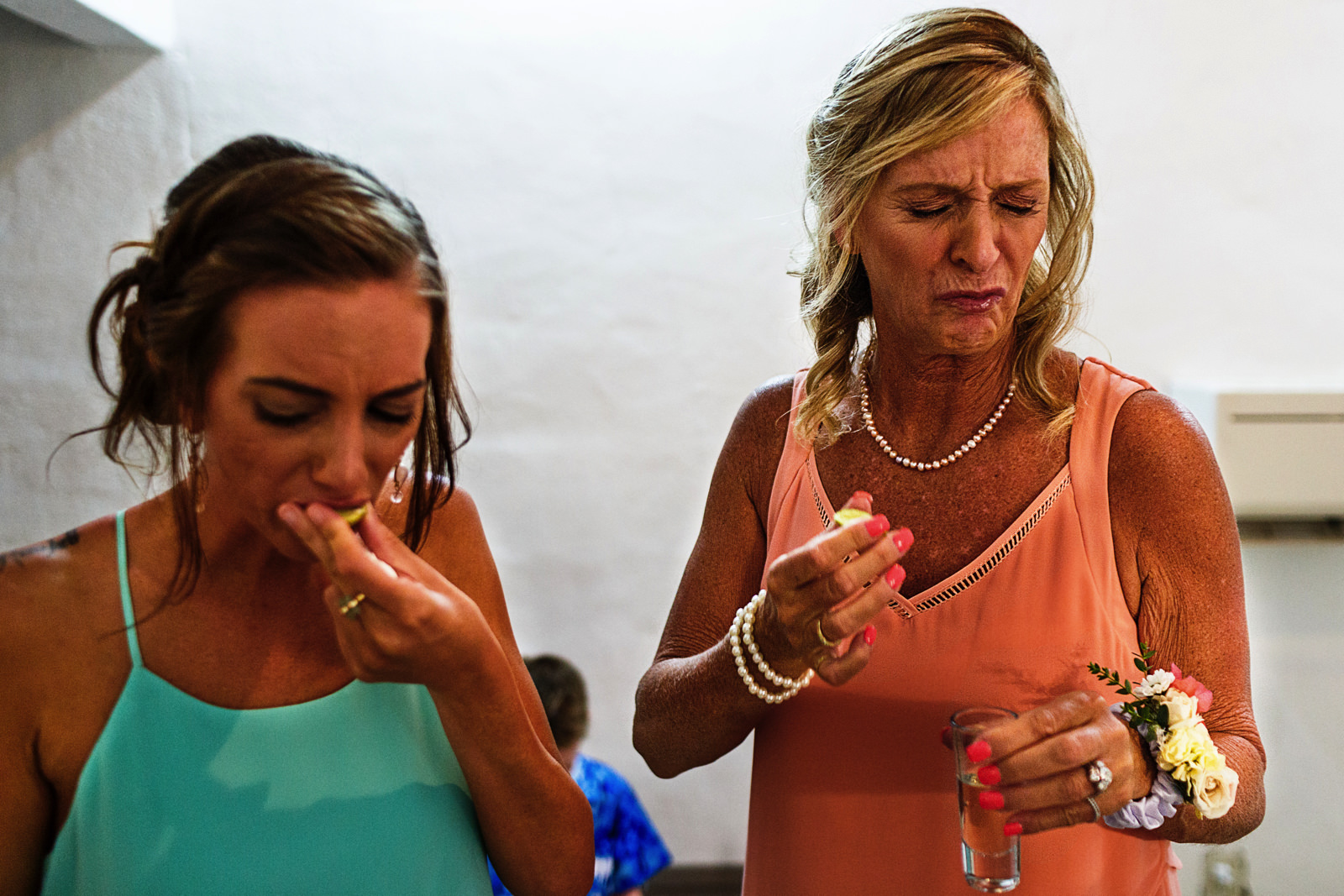 Sister and mother of the bride reaction to tequila shot