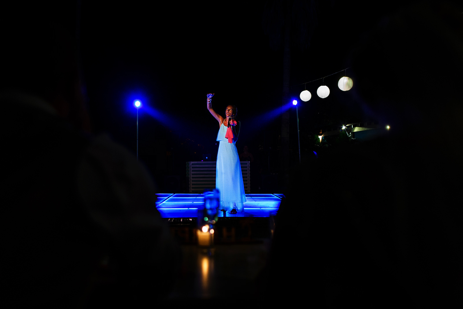 Maid of honor standing on the dance floor during her speech and toast to the groom and bide