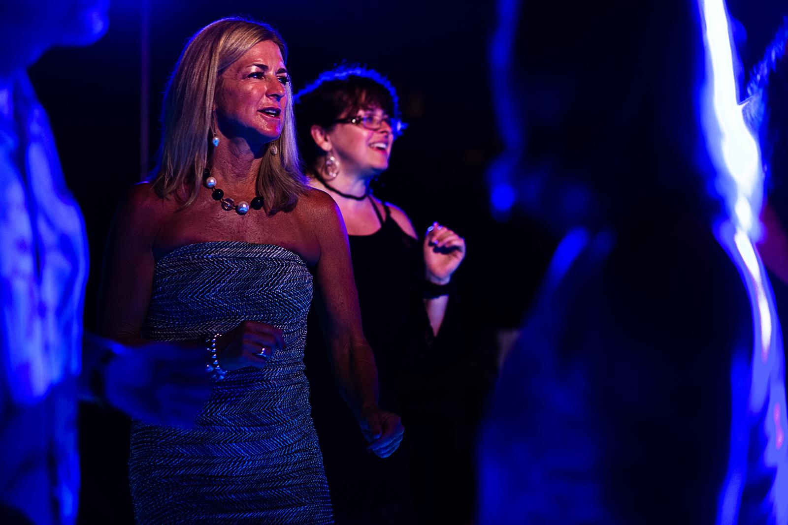 Wedding guests singing together