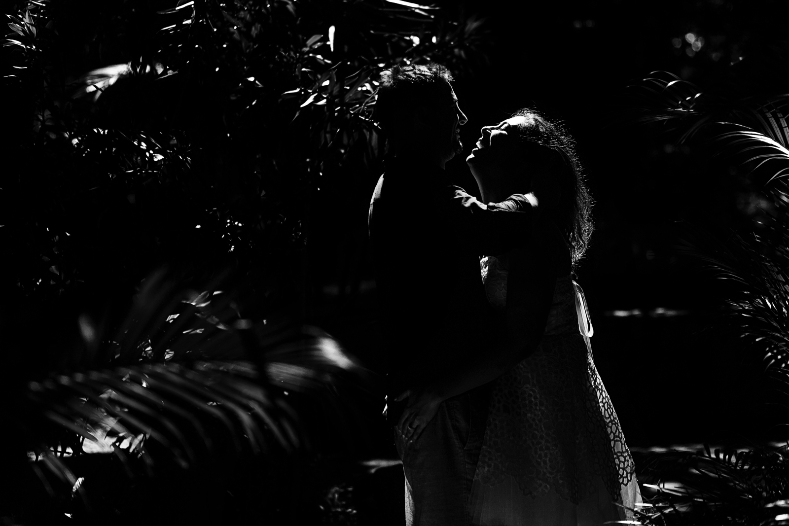 Black and white silhouette of a couple in the bushes