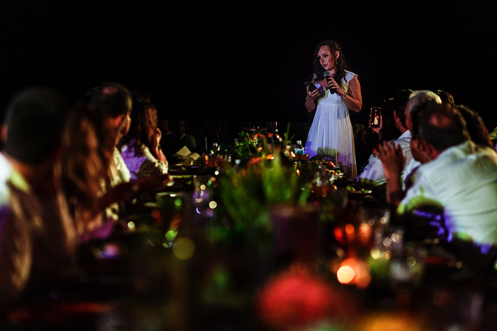 Sister of one of the grooms giving a toast speech during the dinner at Casa Karma