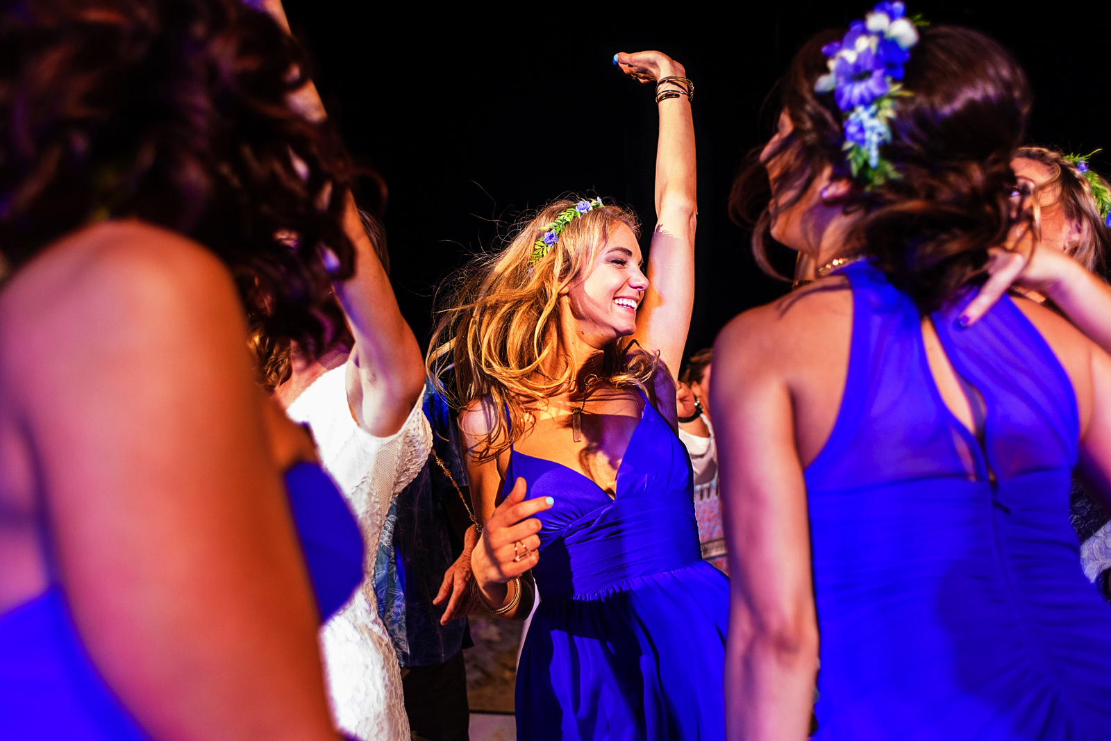 Bridesmaids going nuts on the dance floor