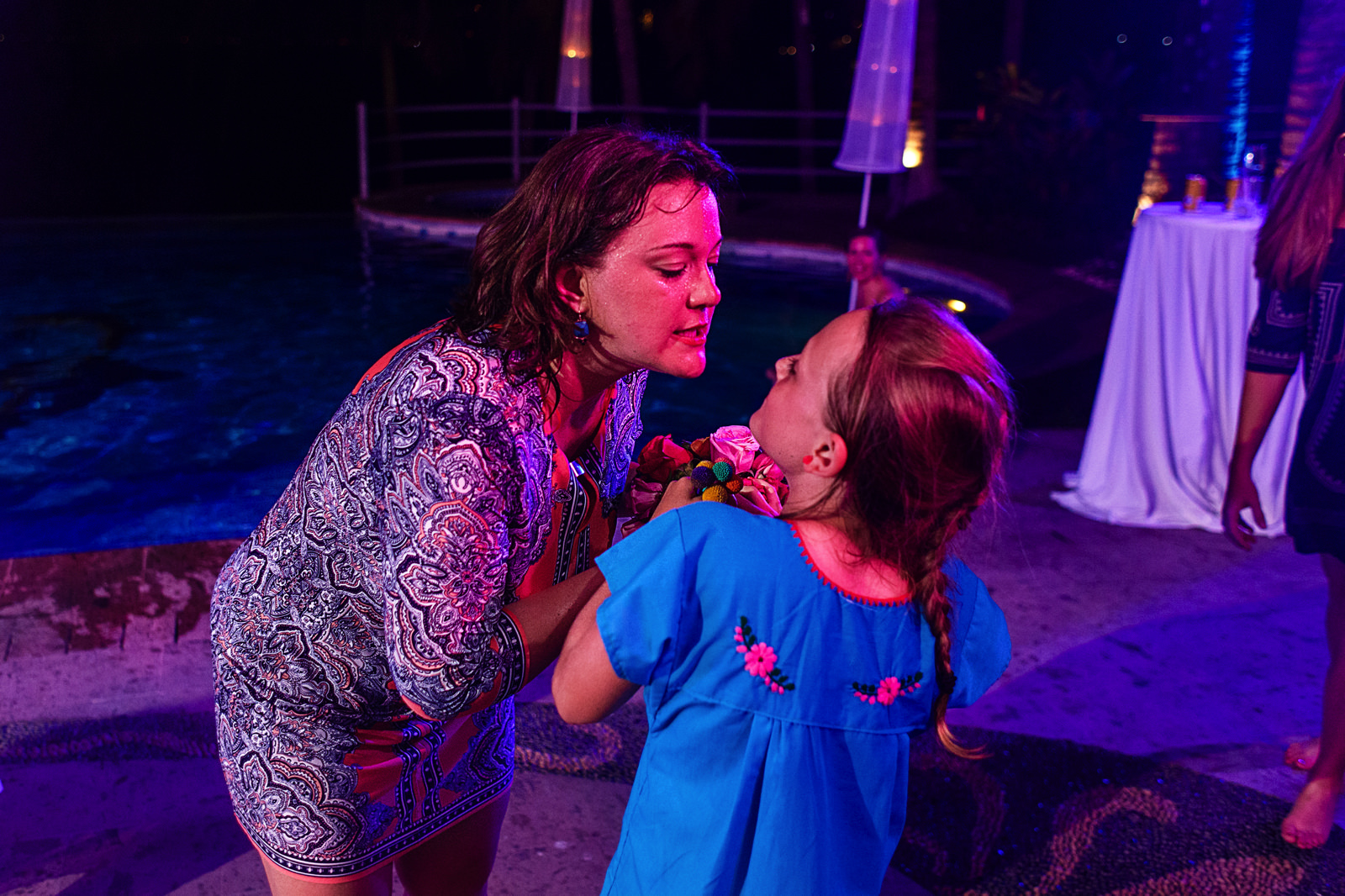 Wedding guest and girl fight over the bouquet at La Mansion Vallarta