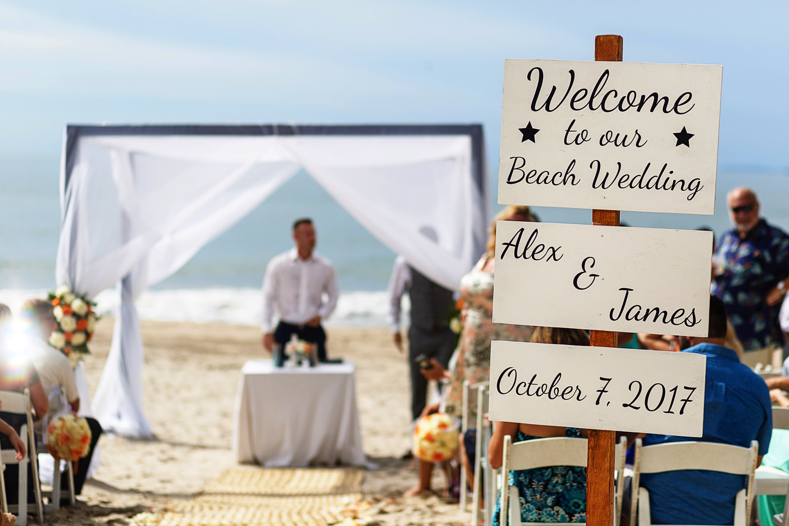 Beach setup of wedding ceremony about to beggin