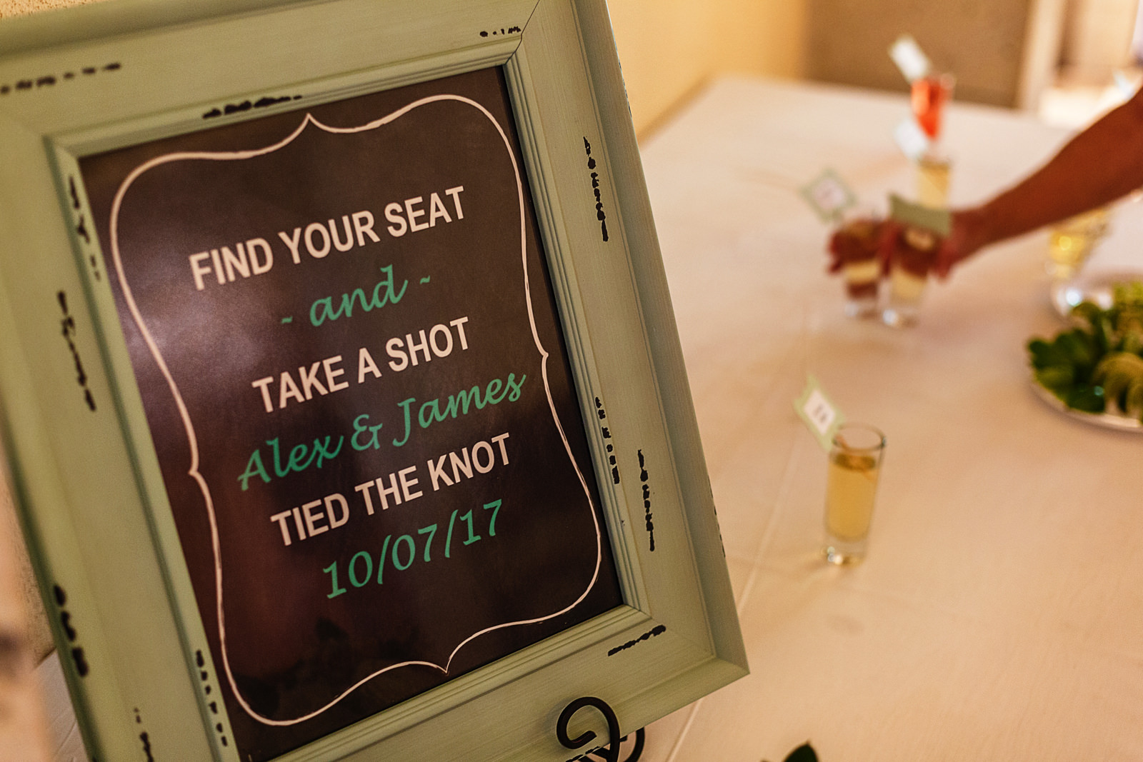 Wedding sign of the table sitting chart with tequila