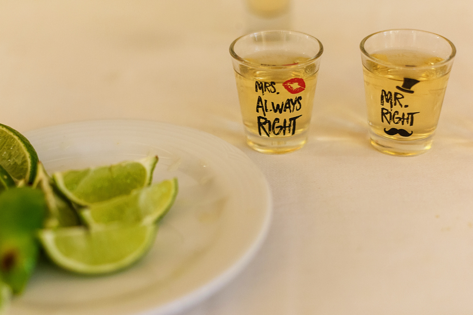 Tequila shots for the groom and bride