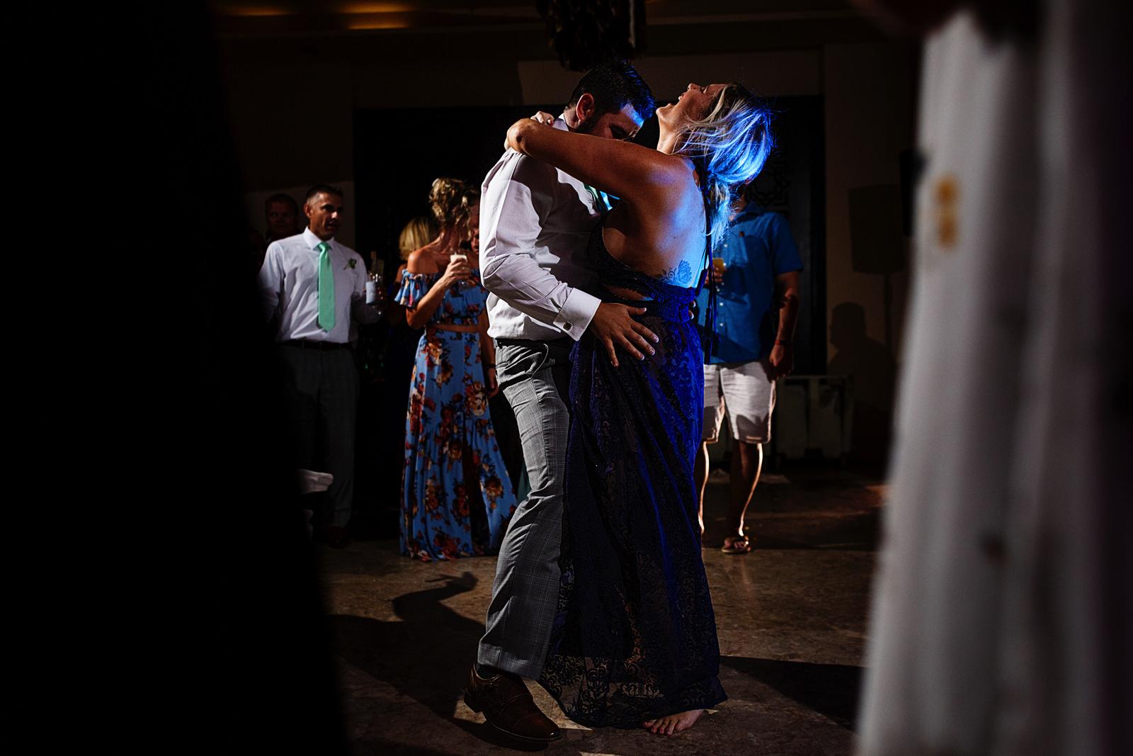 Wedding guests dancing and having fun
