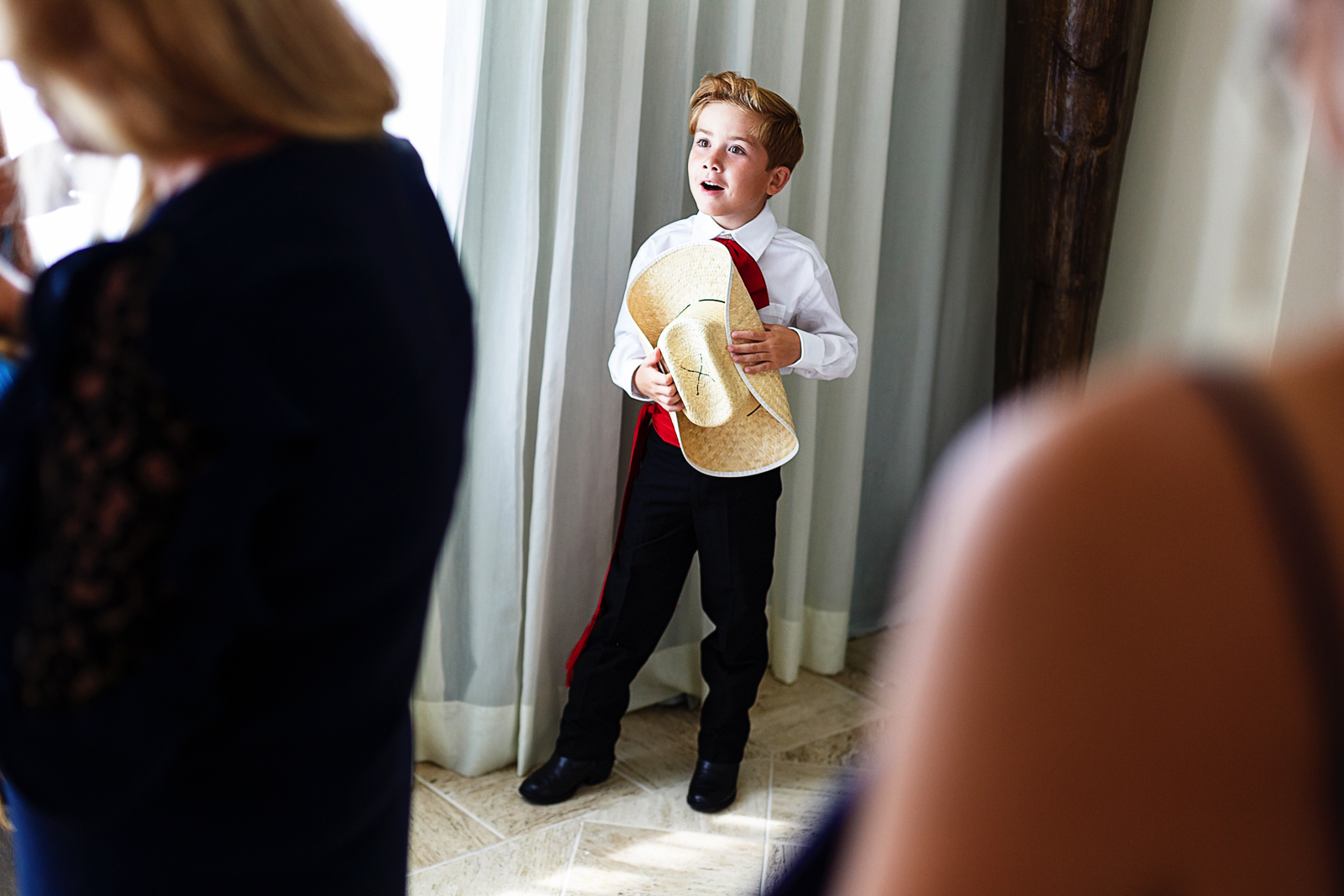 French kid dressed in traditional mexican clothes