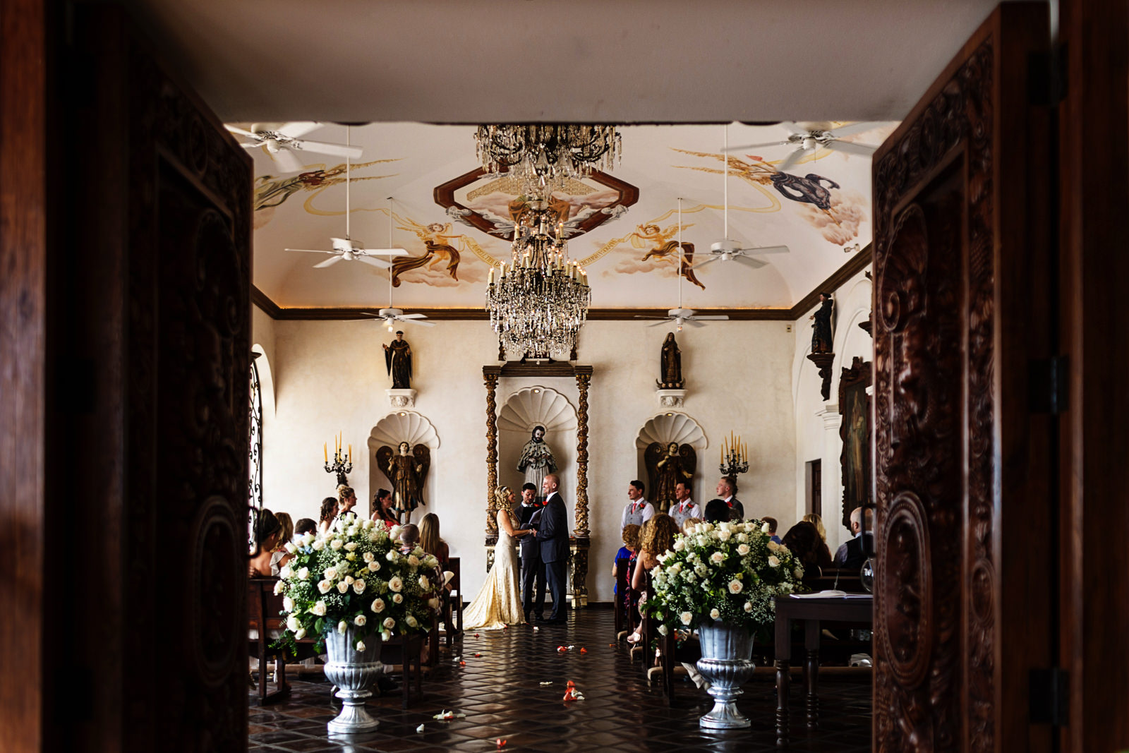 Full view of the wedding ceremony at Hacienda San Angel in Puerto Vallarta