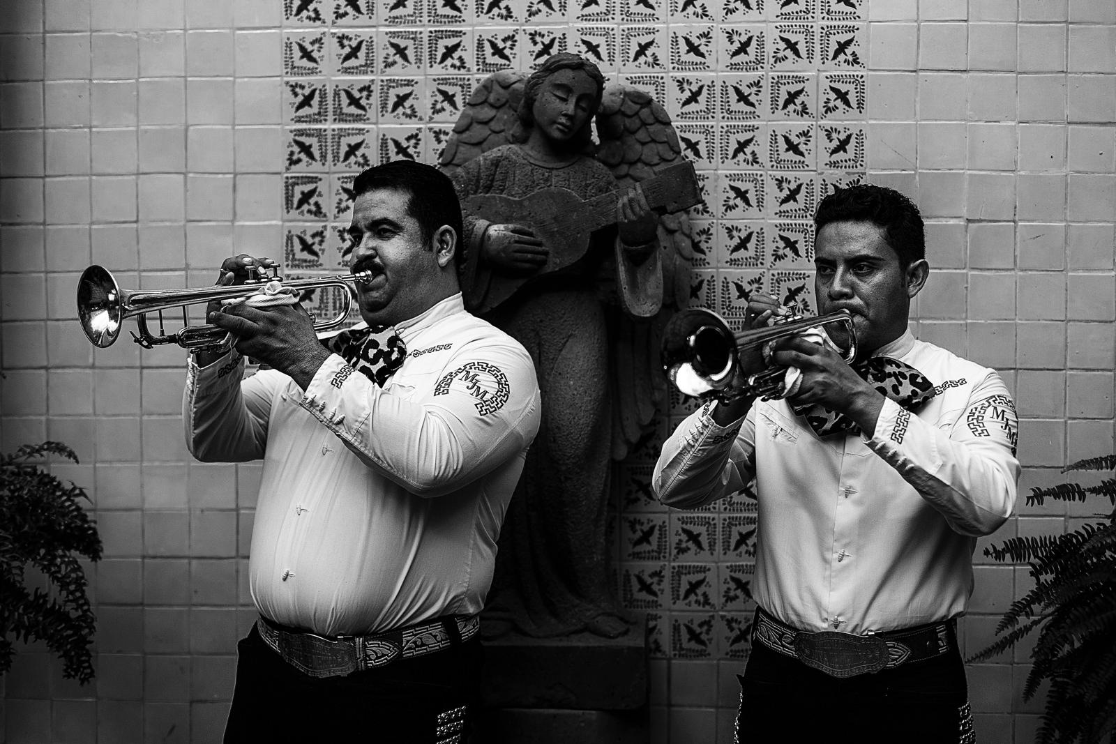 Mariachi trumpeters play at Hacienda San Angel
