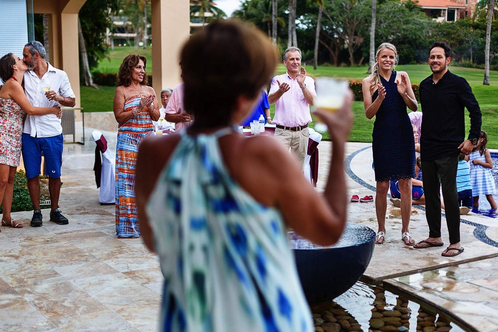 Mother of the bride gives a toast for the happy couple