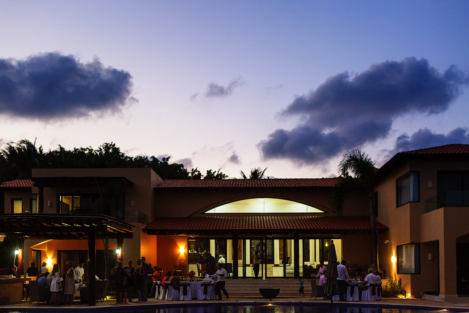 View of Casa Joya del Mar in Punta Mita at sunset during the rehearsal dinner