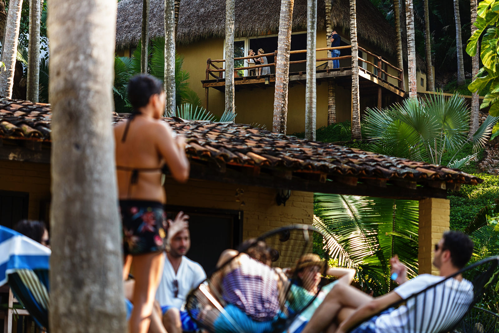 View of the bride getting her make-up at the balcony of the yoga room,from the main garden in Punta Monterrey